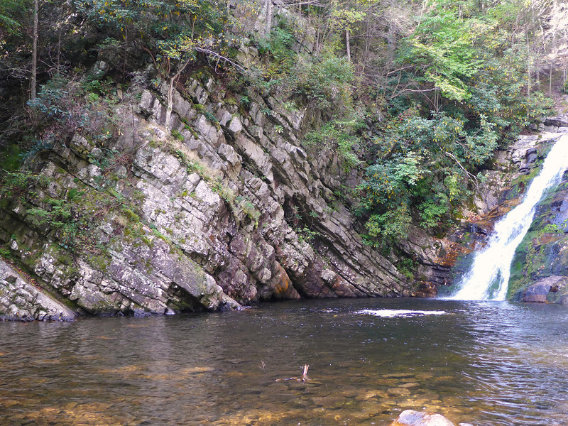 A view of the AT side of the rock wall that encircles these falls.