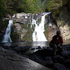 <h1>Laurel Falls</h1>  Brenda is in the shadowy, dark foreground.