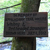 "<h1>Sign</h1> At the base of Laurel Falls.  According to a <u><b><a href=""http://joeniemczura2012.wordpress.com/2012/07/14/catch-up-catches-up-july-6th-through-14th-bears-water-hazards-heat-rain/"">blog post</a></b></u> and a <u><b><a href=""http://www.johnsoncitypress.com/article/101194#ixzz203knTEoS"">Johnson City Press newspaper article</a></b></u>, this was a 42 year old man and his 15 year old son who were hiking the AT.   The blog post author had mentioned staying at Mountain Harbour B&B with both of them a few days earlier, and had spent the evening chatting with them."