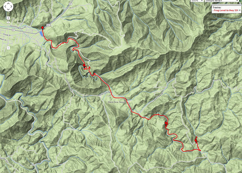 """<h1>GPS Track of hike</h1><br>We started at the Frog Level trailhead in the lower right section of the map, and ended on highway 321, in Hampton TN.<br><br><u><a href=""""http://brendajwiley.com/gps/dennis_cove_laurel_fork.html"""" target=""""_blank"""">Interactive map here</a></u>."""