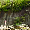 Massive rock walls line the Tuckasegee River
