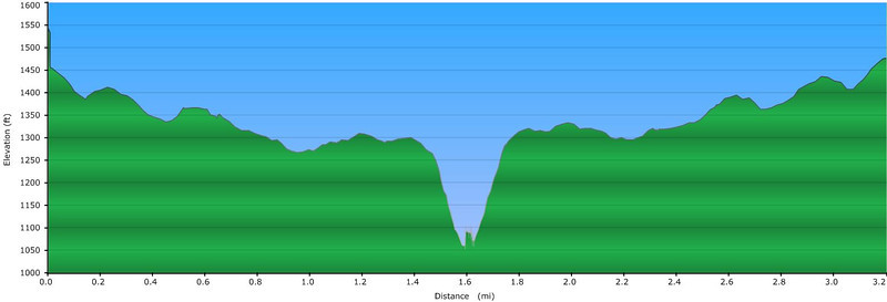 """<h1>Elevation Profile</h1>...of the hike shown in this gallery.    Quite a steep descent, and then ascent, to and from the river!!   About 250 feet elevation change in a little over 500 feet of trail distance.  See <b><u><a href=""""http://www.brendajwiley.com/gps/long_creek.html"""" target=""""_blank"""">this webpage for an interactive map</a></u></b>."""