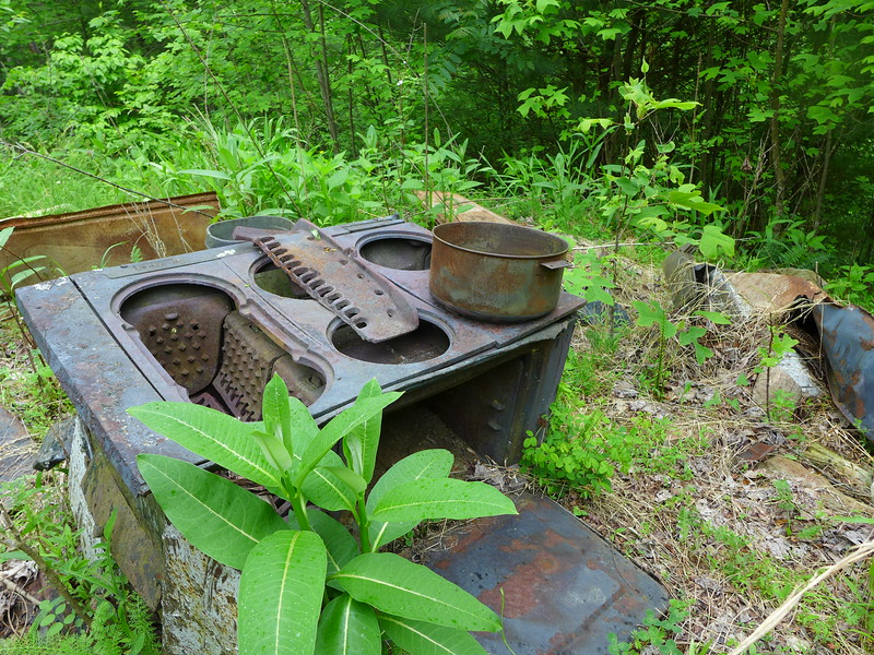 Old stove and pot