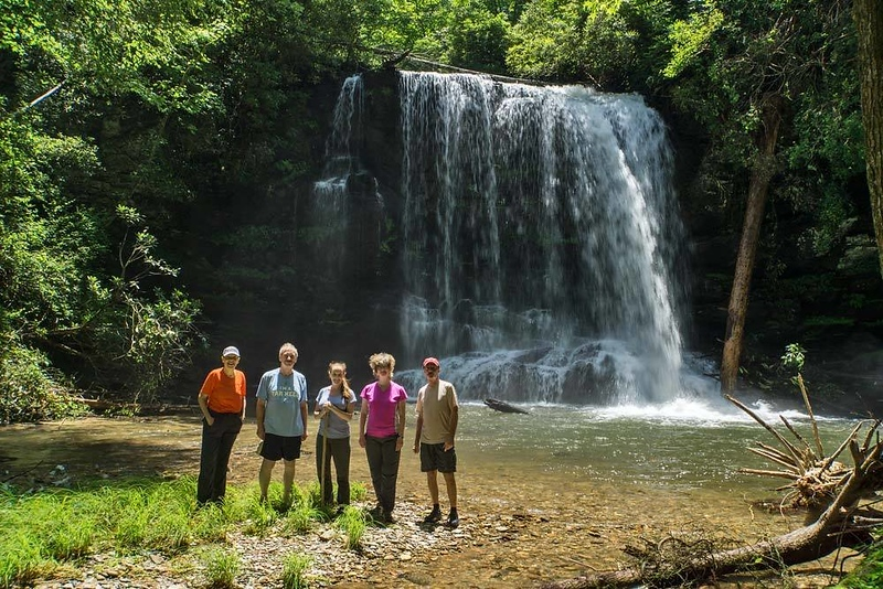 Group photo of all of us at Lower Bearwallow Falls by Rich.  I had just been to Lower Bearwallow Falls 6 days earlier (see previous gallery), so no additional photos of that waterfall is in this gallery.<br /> <br /> Left to right:  Brenda, Everette, Jennifer, Beth, Rich.