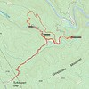 This GPS track represents over 8 hours of hiking!!<br /> <br /> We parked at Turkey Pen Gap and hiked to Lower Bearwallow Falls first ... good road all the way there, and even the steep descent down the ridge is a clear trail. Between having 5 photographers shoot, and a few of us swim, we were there till after 12noon.<br /> <br /> THEN the real fun started!! We backtracked to where Auger Hole road crosses Bearwallow Creek, got in the creek, and headed upstream. That section of creek is 0.4 mile in length. Took us almost THREE HOURS to do that!!! Some photography time in there, but not much. We finally reached Bluff Falls at 3:40 or so.<br /> <br /> All of us were totally in awe of what all was there in front of us. Photos simply do not adequately capture this waterfall's size and awesomeness and character and beauty.<br /> <br /> We spent at least an hour here, which means by now it was getting close to 5pm. AND ... thunder started rolling thru the area, and our bright sunshine and clouds changed to a dark stormy atmosphere.<br /> <br /> Given the time and the pending storm, we opted not to return the way we came (in the stream), but instead, head up the hillside on river left to pickup an old logging road.<br /> <br /> 0.6mile of bushwhacking and 50 minutes later, we reached that old roadbed. You never heard 5 people so happy to lay feet on a logging road!!<br /> <br /> An easy 0.9 mile hike (30 minutes) got us back down to Auger Hole Road, and another 40 minutes had us back at Rich's truck.