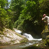 Despite the blazing sunshine, Rich is at work at Bear Canyon Falls.