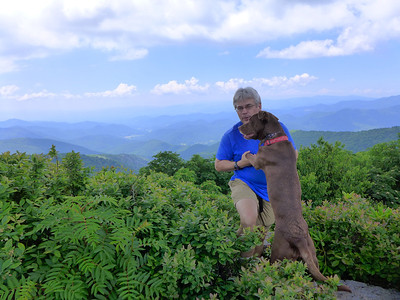 Andy and Boone on the rocky overlook on Locust Knob.