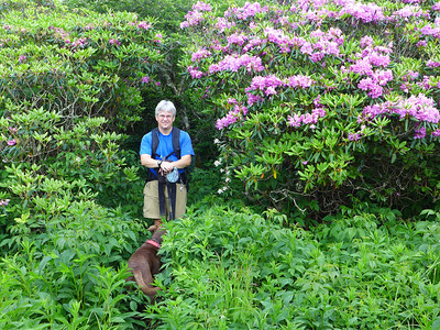 Andy and Kona along the MTS trail on Locust Knob.
