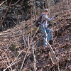 <h1>Evan</h1>...making his way down the steep hillside by Mashbox Falls.  Photo by Darrin.