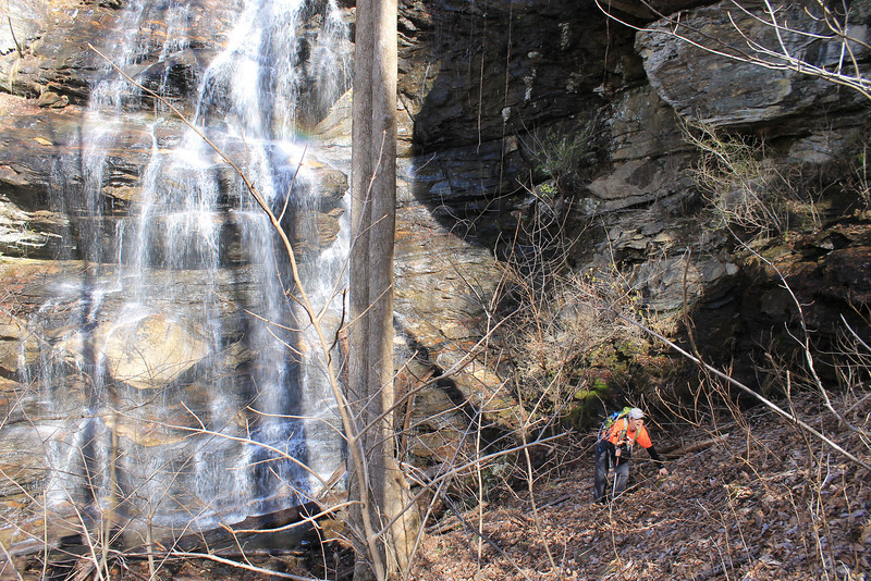 <h1>Brenda</h1>...trying to make her way up the steep slope by Mashbox Falls.  Photo by Darrin.