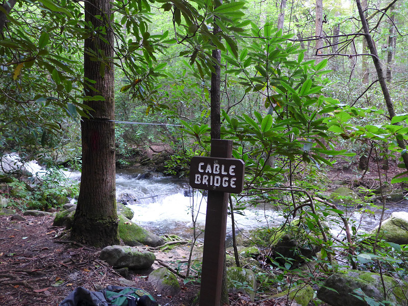 <h1>Cable Bridge over Matthews Creek</h1>The hike to Moonshine and Confusion falls includes crossing Matthews Creek on this cable bridge.