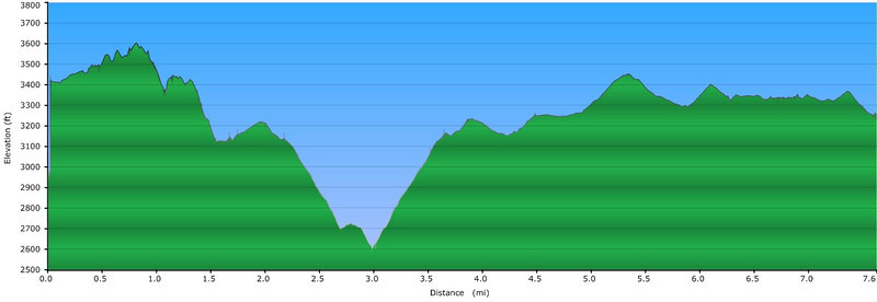 """<h1>Elevation Profile</h1>...of the hike photographed in this gallery.     <u><b><a href=""""http://www.brendajwiley.com/gps/northern_pt.html"""" target=""""_blank"""">See this link for an interactive map</a></b></u>."""