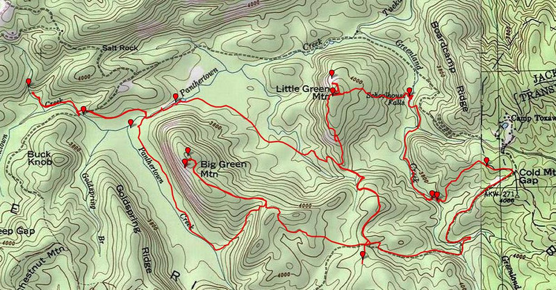 """<h1>GPS track</h1>....of the hike highlighted in this gallery.    <u><b><a href=""""http://www.brendajwiley.com/gps/panthertown.html"""">See this page for an interactive map</a></b></u>."""