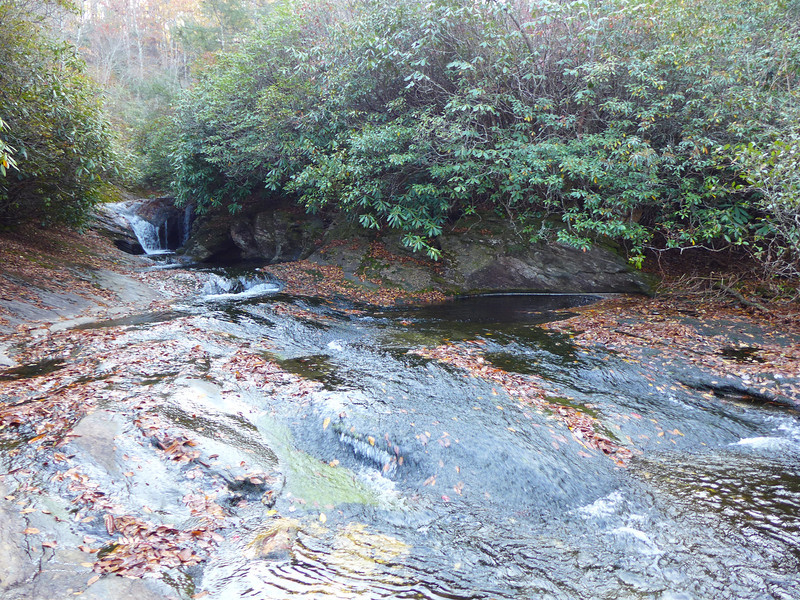 <h1>The Pothole</h1>You can see in the center right of this photo a circular area where the water is a lot deeper than the rest of the creek.