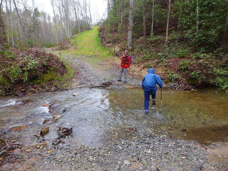 Sawako crossing Abner Creek