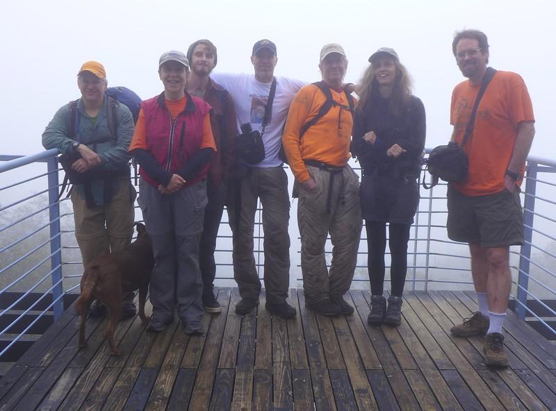 On the (very foggy) observation deck on Sassafras Mountain