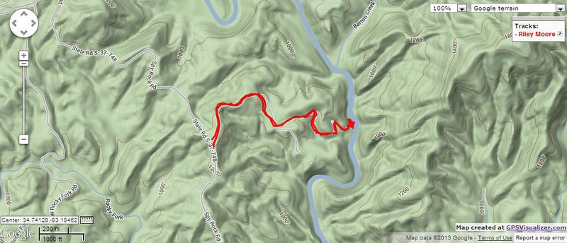 """<h1>Map</h1>...of the hike shown in this gallery.  See <b><u><a href=""""http://www.brendajwiley.com/gps/riley_moore.html"""" target=""""_blank"""">this webpage for an interactive map</a></u></b>."""