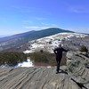 <h1>Jan, on Jane Bald</h1>...with Round Bald (snow covered bald) and Roan High Knob in the background.