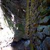 Looking upstream, around the bend.   MORE stonework!!