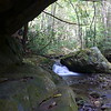 The boulder in the creek there is probably 20 feet or more high.