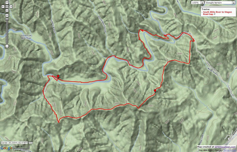 """<h1>GPS track of hike</h1>Starting and ending at Turkey Pen Trailhead, I went down South Mills River Trail to the river, followed the river upstream to Wagon Road Trail, followed that up to the ridgeline and picked up Turkey Pen Gap Trail, following it back to the trailhead.  <u><b><a href=""""http://www.brendajwiley.com/gps/south_mills_river_wagon_road.html"""">Interactive map here</a></b></u>.  ."""