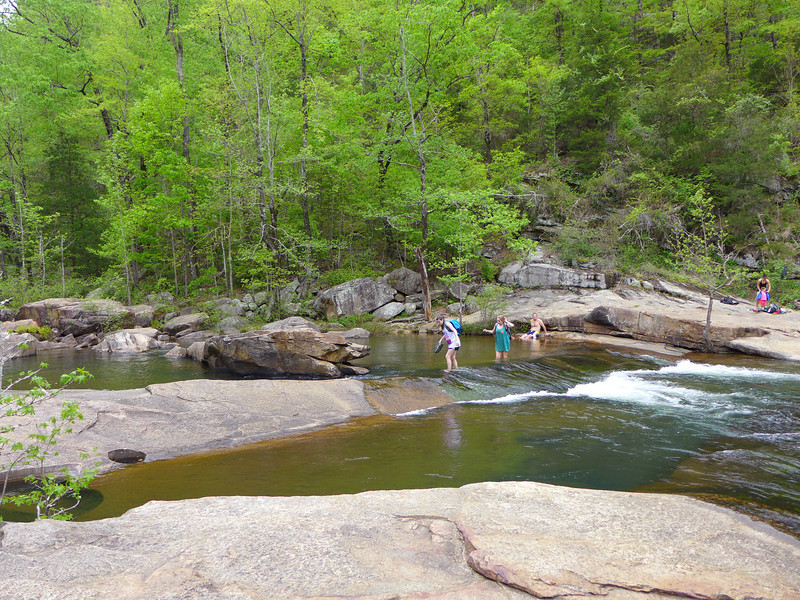 <h1>Downriver Crossing</h1>...of the Tallulah River.   If you do the Gorge Floor hike, this is the second crossing which brings you back to the south side of the river, right at the base of Sliding Rock Trail, which takes you up to the South Rim Trail.