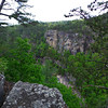 <h1>View across the Gorge</h1>...as seen from Sliding Rock Trail.  The lower center of the photo has a shot of the portion of rock face a hiker has to scootch down along side Oceana Falls when you hike the Gorge Floor.   Zoomed in photos in next 2 shots.