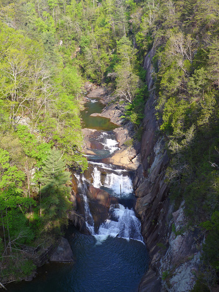 <h1>Tallulah Gorge</h1>View of the upper portion of Tallulah Gorge, looking down on L'Eau d'Or Falls.  Taken from Overlook #2 on the North Rim.