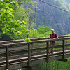 <h1>Brenda</h1>...on the suspension bridge that spans Tallulah Gorge.      Photo by Andy.