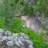 <h1>Zoomed in shot</h1>... of the portion of rock face a hiker has to scootch down along side Oceana Falls when you hike the Gorge Floor.   Shot from the South Rim along the Sliding Rock Trail.