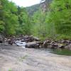 <h1>View upstream</h1>...from Bridal Veil Falls.