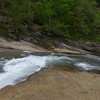 A side shot of one of the turbulent areas within Bridal Veil Falls.