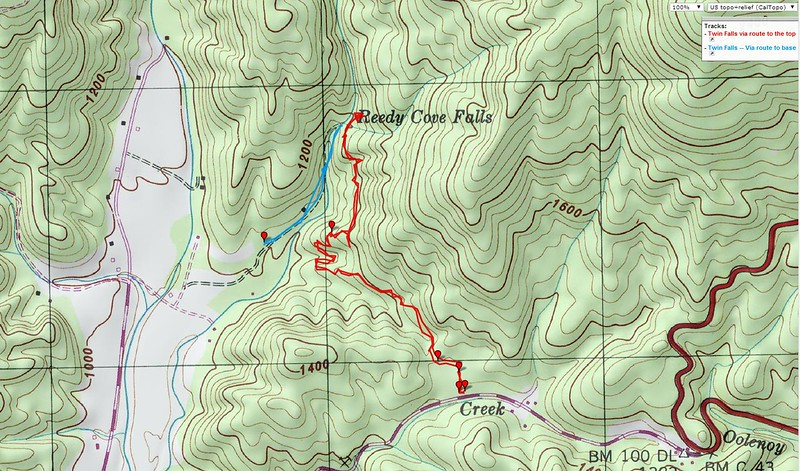 "<h1>Map</h1>...showing GPS track of both trails.   Blue track is the short trail which takes you to the observation deck at the base of the falls.  Red track is the trail which takes you to the top.  <b><u><a href=""http://www.brendajwiley.com/gps/twin_falls_sc.html"" target=""_blank"">See this page for an interactive map.</a></u></b>"