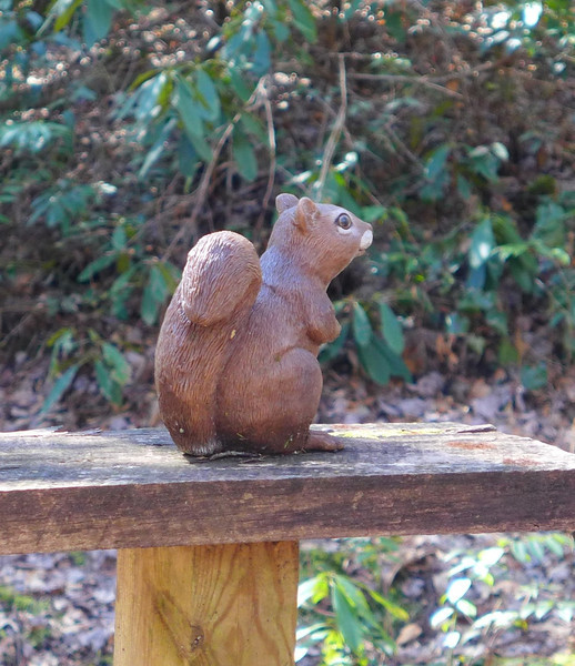 After passing the statue of the little girl, the trail crossed a creek and came to a bench with this little fella.
