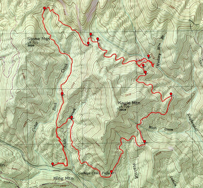 """<h1>Map</h1>...of our hike highlighted in this gallery.   <b><u><a href=""""http://www.brendajwiley.com/gps/kuykendall_loop.html"""" target=""""_blank"""">See this page</a></u></b> for an interactive map.   The waypoints on the interactive map correspond with Kevin Adam's trail description which he gives for the hike to this waterfall.  Please see <b><u><a href=""""http://www.brendajwiley.com/kuykendall_falls.html"""" target=""""_blank"""">my webpage on this hike</a></u></b> for a complete trip report."""