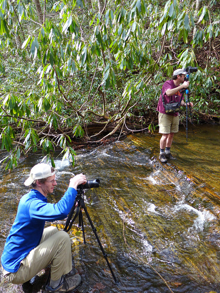 <h1>Van and Jack</h1>...photographing the waterfall on Kuykendall Creek.