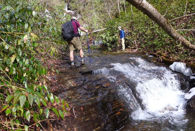 <h1>Jack and Van</h1>...navigating the portion of Kuykendall Creek just downstream from the falls.   This is where we came out on the creek as we bushwhacked down from the old FS road.