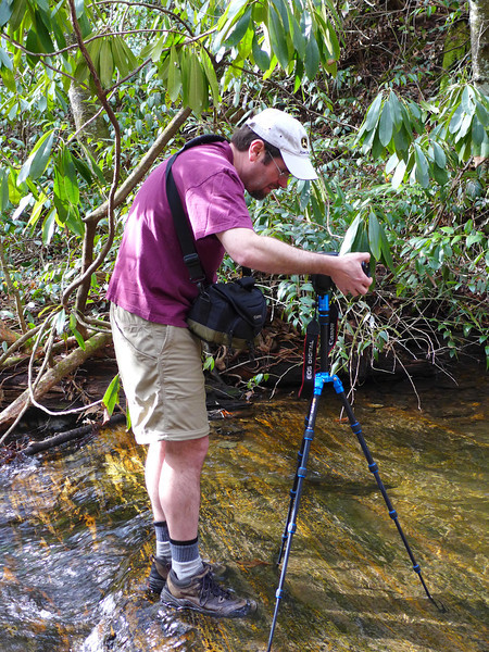 <h1>Jack</h1>...at work photographing the waterfall on Kuykendall Creek.