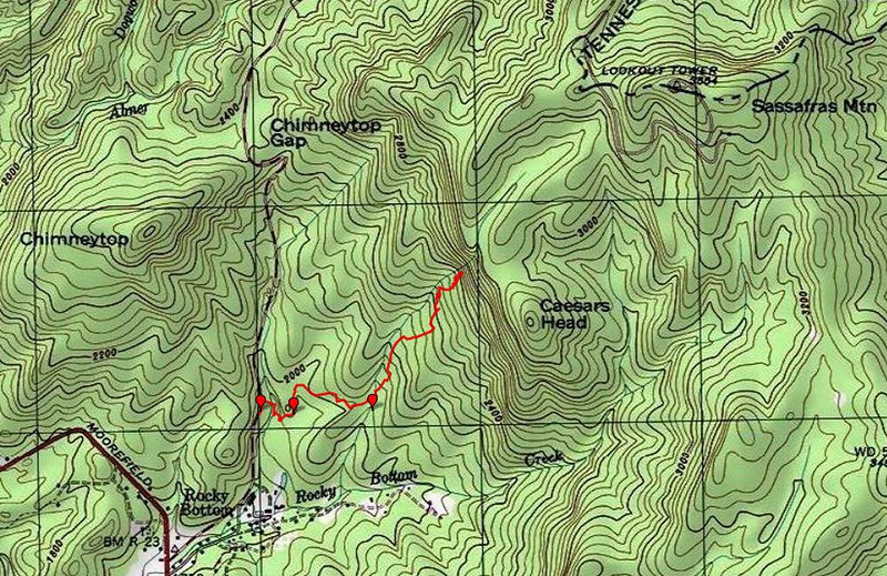 "<h1>GPS Track</h1>...of our hike to the waterfall.     <u><b><a href=""http://www.brendajwiley.com/gps/rocky_bottom_tributary_ow.html"" target=""_blank"">Interactive map here.</a></b></u>  <u><b><a href=""http://www.brendajwiley.com/waterfall_on_tribuatary_of_rocky_bottom_creek.html"" target=""_blank"">See my webpage on this hike here.</a></b></u>"