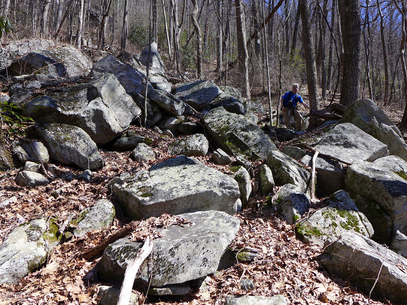 The last 100 feet or so of elevation gain was REALLY tough.  We found ourselves trying to make our way around  huge rocks, boulders, downed trees, all of which was scattered over very steep terrain.