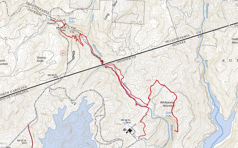 GPS track of hike