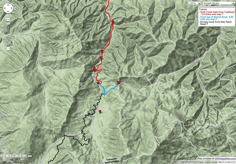 """<h1>Map</h1>....showing the 3 different routes available for accessing Wolf Creek Falls.     <h4><u><b><a href=""""http://www.brendajwiley.com/gps/wolf_creek.html"""">Interactive map available here</a></b></u>.</h4>"""