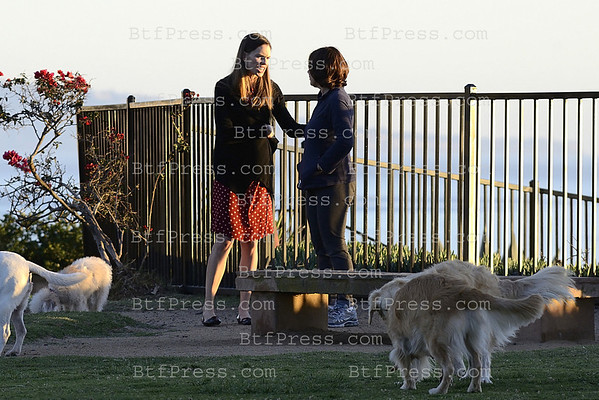 Exclusive___ Hilary Swank meet a friend in a dog park in Los Angeles.