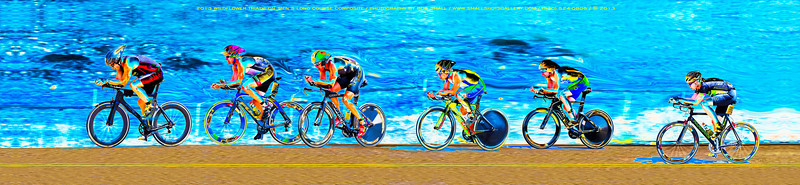 "The chase is on during the long course cycling stage of Wildflower 2013. This composite image is a long panorama ideally printed in a 16"" x 80"" format. It could also be printed in a 10"" x 48"" format."