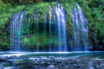 Mossbrae Falls spills into the Sacramento River near Dunsmuir, CA