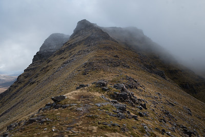 The slope of Beinn Dearg is about 40% for a few hundred meters to the lower summit of Stuc Loch na Cabhaig