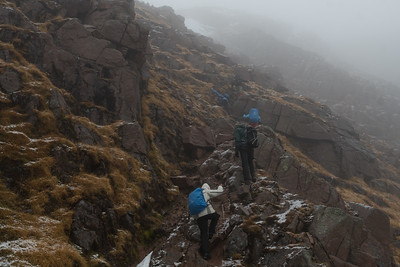 The path soon becomes rocky and steep and we have to scramble a bit from time to time