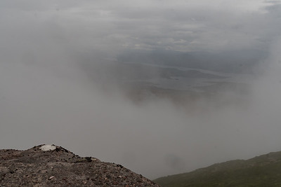 The thick cloud cover allowed us the briefest of glimpses of the stunning views