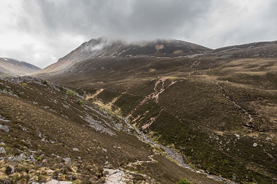 Descending in the Lairig Ghru, Sron na Lairig in the distance