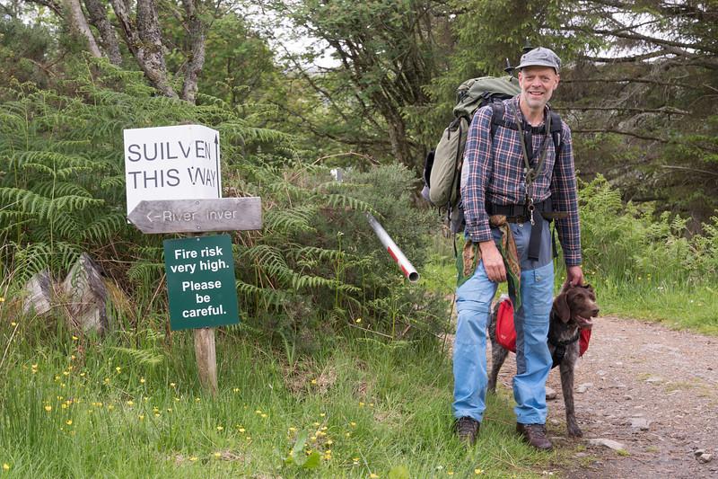 The path begins at Glencanisp Lodge